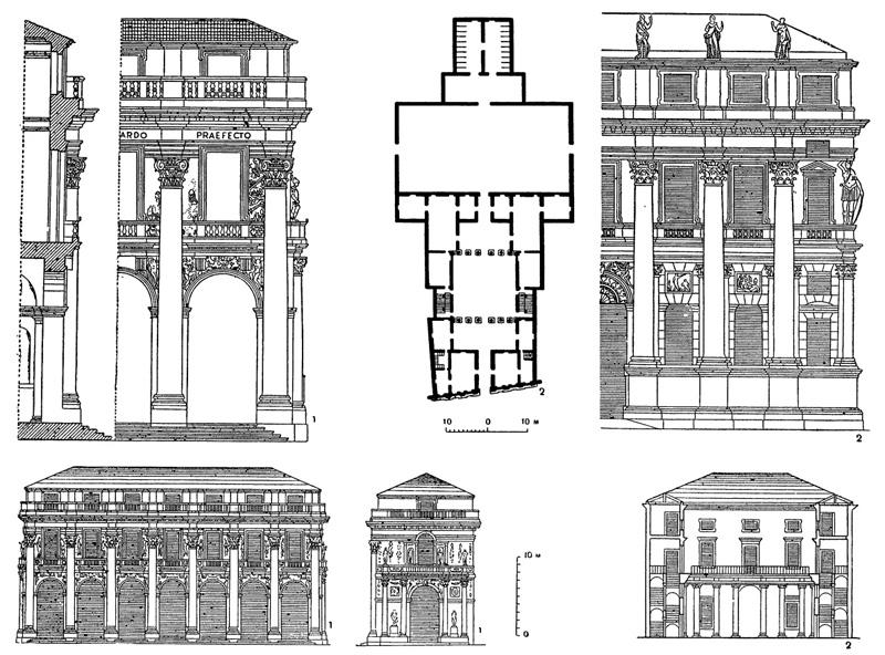 Архитектура эпохи Возрождения в Италии: Виченца. Палладио. 1 — палаццо дель Капитанио, 1576 г., фрагменты разреза, главного фасада, его вид по проекту и торцовый фасад; 2 — палаццо Вальмарана, 1566 г., план, часть фасада и разрез по двору