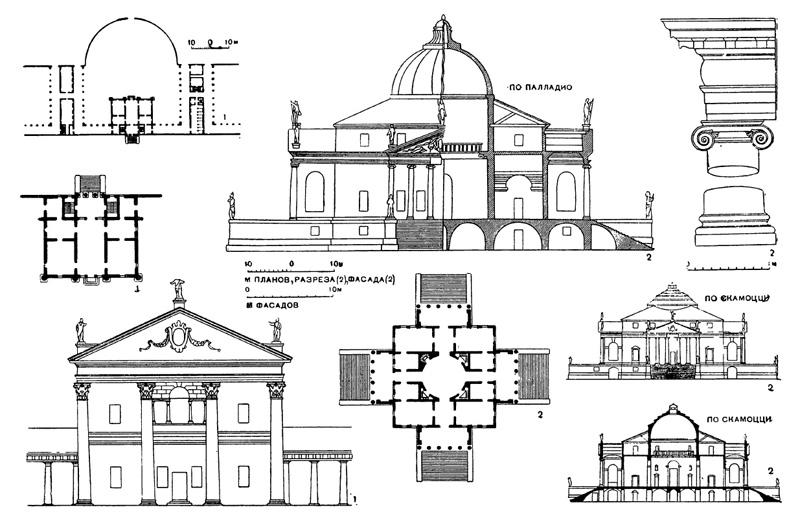 Архитектура эпохи Возрождения в Италии: Палладио. Виллы: 1 — Ангарано около Бассано, 1548 г.; 2 — Ротонда в Виченце, с 1551 г., чертежи
