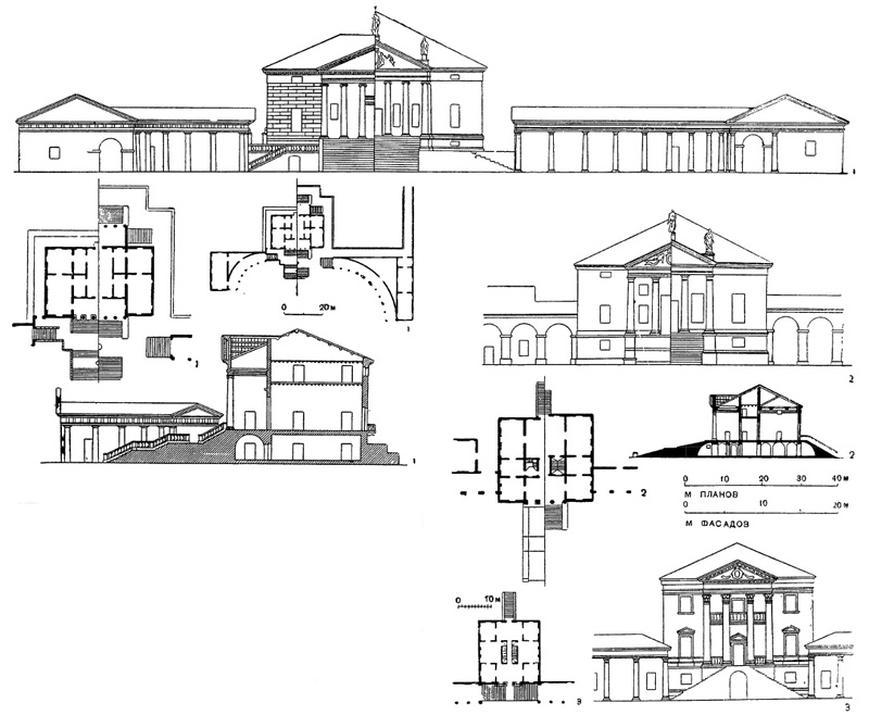Архитектура эпохи Возрождения в Италии: Палладио. 1 — Фратта Полезина. Вилла Бадоэр, 1565 г. (чертежи); 2 — Гиццоле. Вилла Рагона, 1570-е гг.; 3 — Фанцоло. Вилла Эмо, около 1560 г.