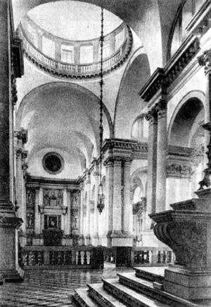 Архитектура эпохи Возрождения в Италии: Венеция. Церковь монастыря Сан Джорджо Маджоре, вид от алтаря в сторону входа