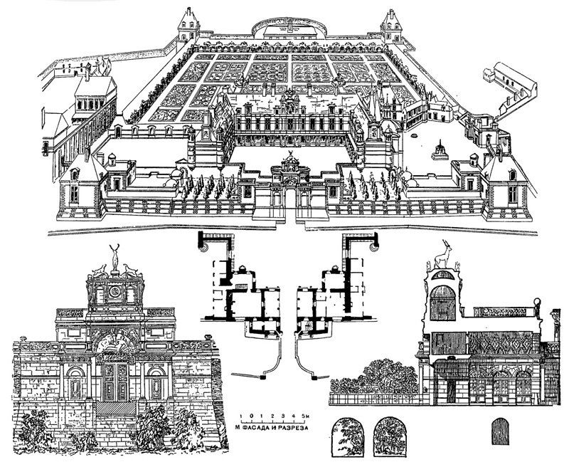 Архитектура Франции эпохи Возрождения: Анэ. Замок, начат в 1546 г. Ф. Делорм.Общий вид по Дюсерсо; ворота — план, фасад и разрез