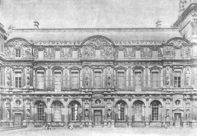 Архитектура Франции эпохи Возрождения: Париж. Дворец Лувр, с 1546 г. Пьер Леско и скульптор Жан Гужон.Дворовый фасад